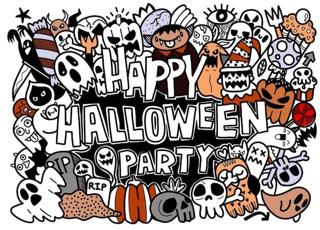 Conjunto de coleção de desenhos animados doodle desenhado à mão de um ícone engraçado sobre o dia de halloween