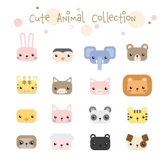Conjunto de coleção de desenhos animados pastel cabeça de animais fofos