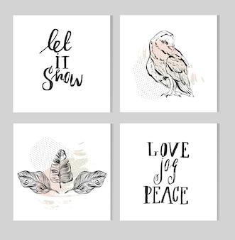 Conjunto de coleção de design de frase de natal de letras de mão preto e branco, caligrafia artesanal e ilustração de tinta gráfica com coruja e composição de folhas de palmeira tropical em cores pastel.