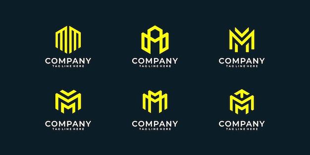 Conjunto de coleção de design de logotipo com monograma da letra m