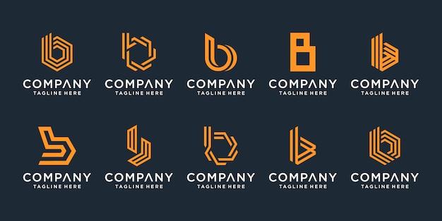 Conjunto de coleção de design de logotipo criativo letra b.