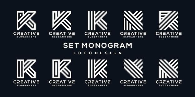 Conjunto de coleção de design de logotipo criativo letra k