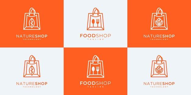 Conjunto de coleção de design de logotipo de compras.