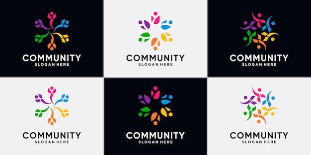 Conjunto de coleção de design de logotipo de comunidade criativa para família de equipe e pessoas