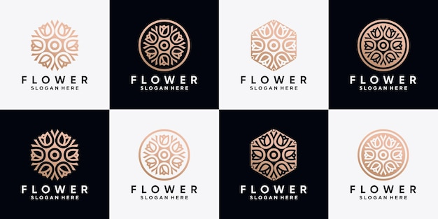 Conjunto de coleção de design de logotipo de flor rosa com estilo de arte de linha
