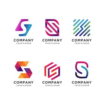 Conjunto de coleção de design de logotipo de letra s, moderno, gradiente, abstrato, letra