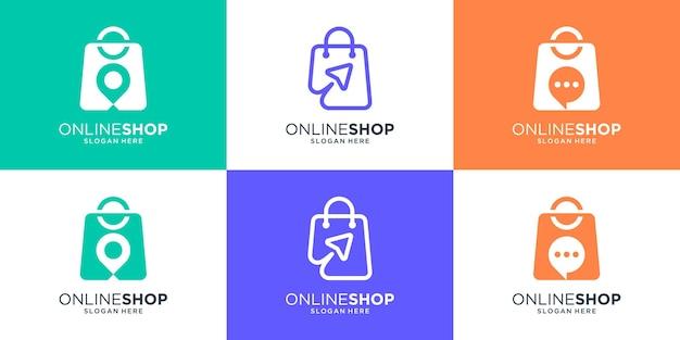 Conjunto de coleção de design de logotipo de loja de compras
