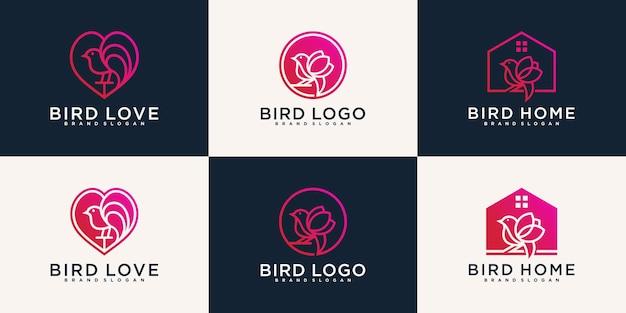 Conjunto de coleção de design de logotipo de pássaros diversos vector premium