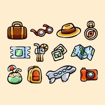 Conjunto de coleção de doodle de viagem