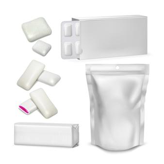Conjunto de coleção de embalagens em branco de chiclete. chiclete de mascar de hortelã sem açúcar com bolsa brilhante de geléia, bolha e pacote. maquete de borracha para cuidados com os dentes do restaurante ilustrações 3d realistas