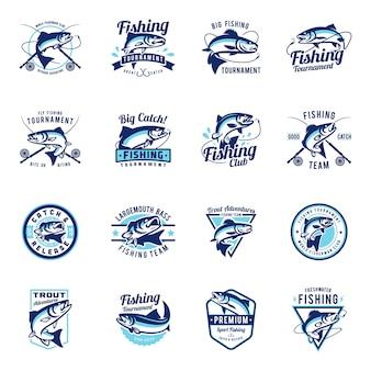 Conjunto de coleção de emblema de distintivo de pesca