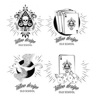 Conjunto de coleção de emblemas de tatuagem