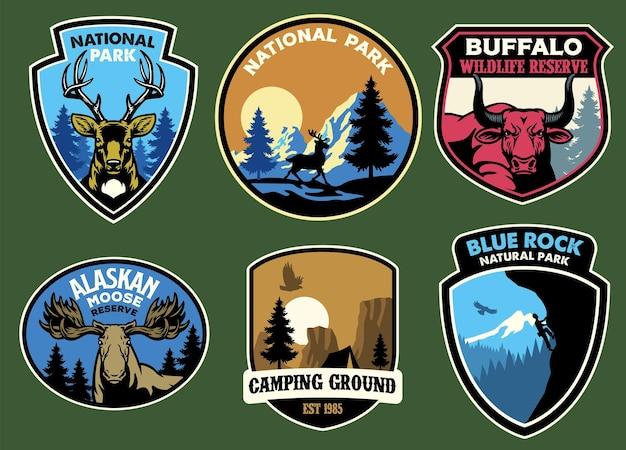 Conjunto de coleção de emblemas de vida selvagem