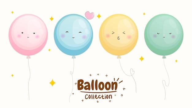 Conjunto de coleção de emoji de balão fofo vetor premium