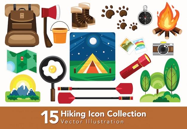 Conjunto de coleção de equipamentos para caminhadas