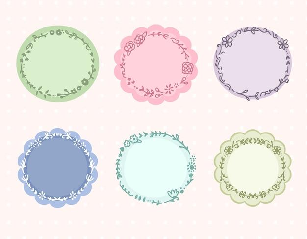 Conjunto de coleção de etiqueta de quadro de círculo floral colorido fofo