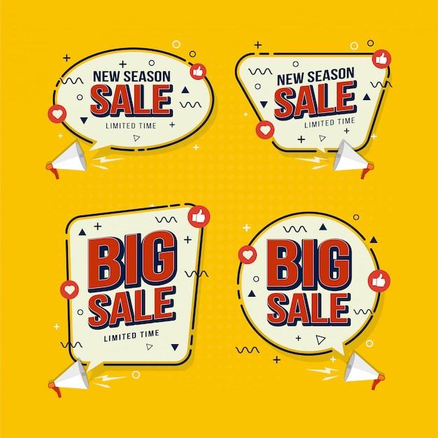 Conjunto de coleção de etiquetas para promoção de marketing