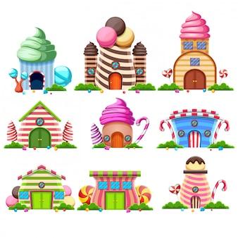 Conjunto de coleção de fantasia doce casa de bolos e decorado com doces