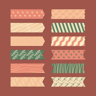 Conjunto de coleção de fita washi desenhada à mão.