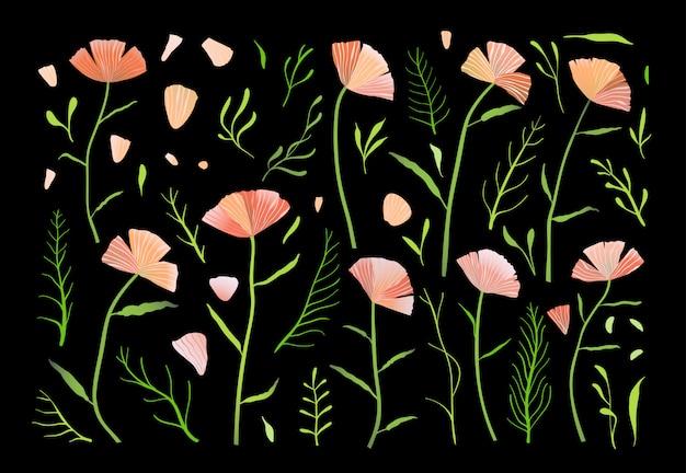 Conjunto de coleção de flores rosa e verdes isoladas em fundo preto designer.