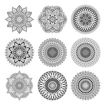 Conjunto de coleção de formas de mandala