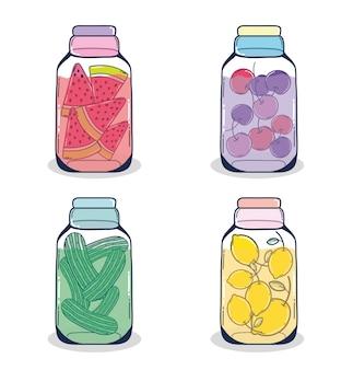 Conjunto de coleção de frascos de pedreiro