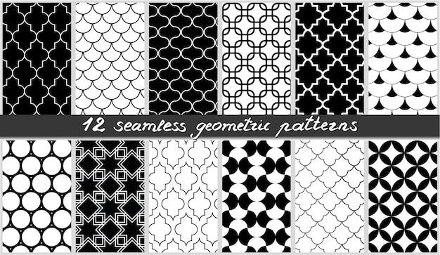Conjunto de coleção de fundos de elementos em preto e branco islâmicos de padrões geométricos sem emenda
