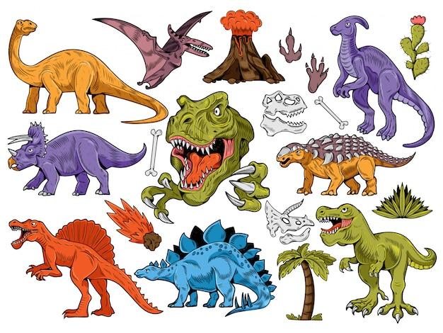 Conjunto de coleção de gravura, estilo cartoon, dinossauros de mão desenhada, vulcão, palma, plantas, osso.