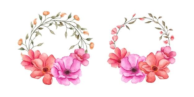 Conjunto de coleção de grinaldas de flores em aquarela