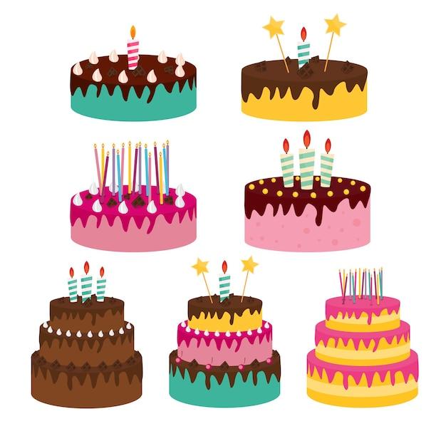 Conjunto de coleção de ícone de bolo de aniversário bonito com velas.