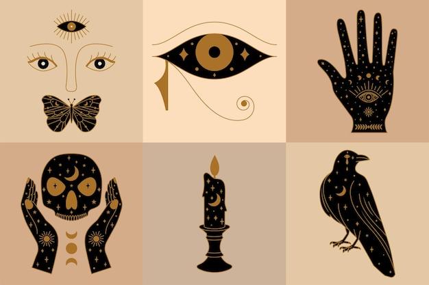 Conjunto de coleção de ícones de bruxa com vela de palma horus eye crow e ilustração de rosto místico