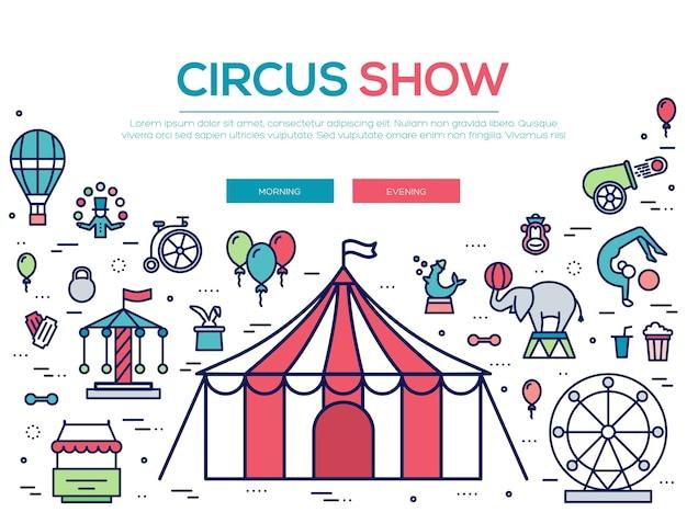 Conjunto de coleção de ícones de contorno de circo de qualidade premium