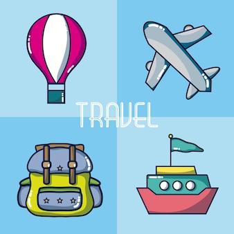 Conjunto de coleção de ícones de viagens