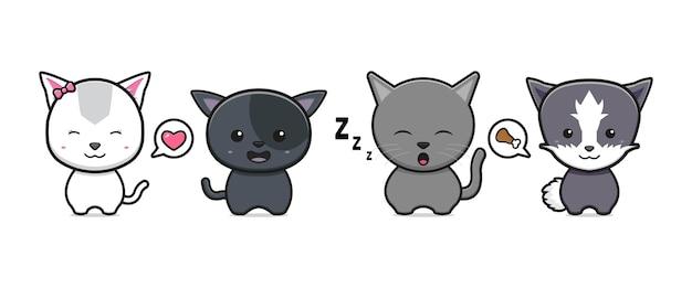 Conjunto de coleção de ilustração de ícone de desenho animado de gato bonito. projeto isolado estilo cartoon plana Vetor Premium