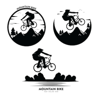 Conjunto de coleção de ilustração de silhuetas de mountain bike