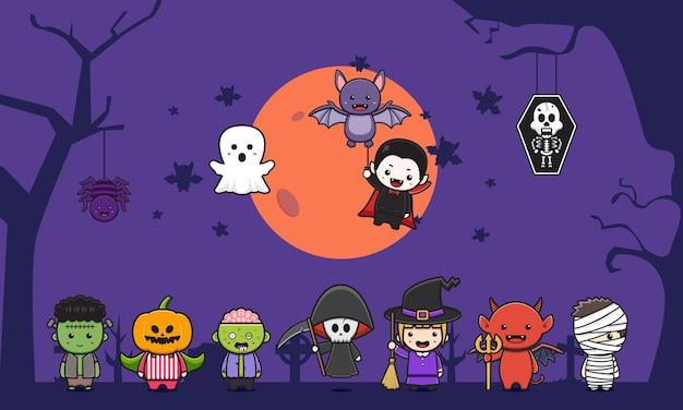 Conjunto de coleção de ilustração do clipart do ícone dos desenhos animados do fundo da celebração do dia das bruxas