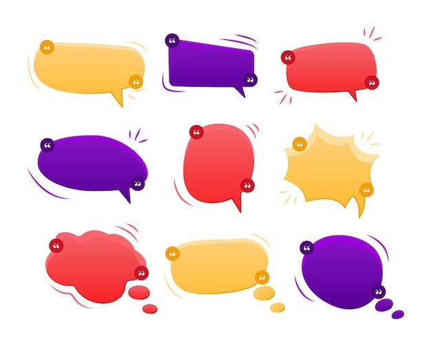 Conjunto de coleção de ilustração vetorial de balão ou caixa de diálogo