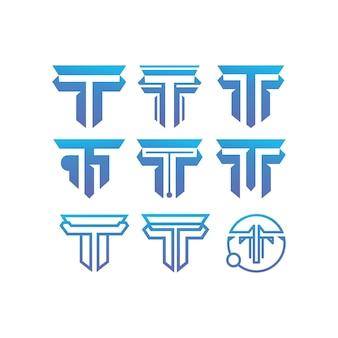 Conjunto de coleção de iniciais de modelos de design t