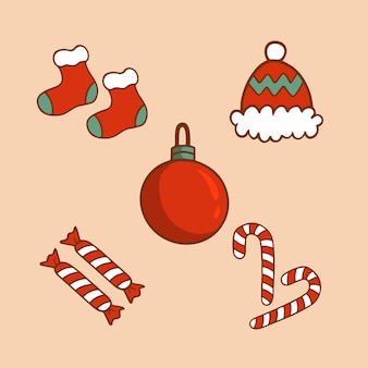 Conjunto de coleção de itens de decoração de natal ilustração em vetor enfeite de natal