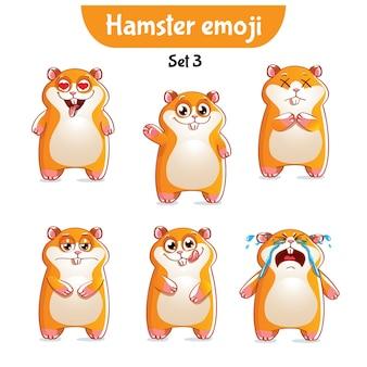 Conjunto de coleção de kit adesivo emoji emoticon emoção isolada ilustração personagem feliz doce, fofo hamster
