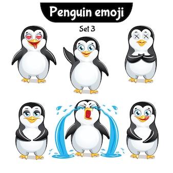 Conjunto de coleção de kit adesivo emoji emoticon emoção isolada ilustração personagem feliz doce, pinguim fofo