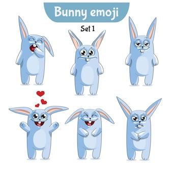 Conjunto de coleção de kit adesivo emoji emoticon emoção vetor ilustração isolada personagem feliz doce, bonito coelho branco, coelho, lebre.