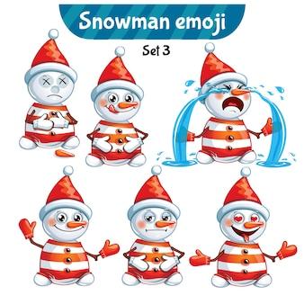 Conjunto de coleção de kit adesivo emoji emoticon emoção vetor isolado ilustração personagem feliz doce, bonito boneco de neve