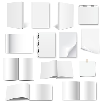 Conjunto de coleção de livros com fundo branco isolado com malha gradiente