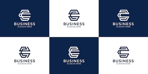 Conjunto de coleção de logotipo criativo da letra c