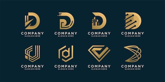 Conjunto de coleção de logotipo d com estilo abstrato dourado