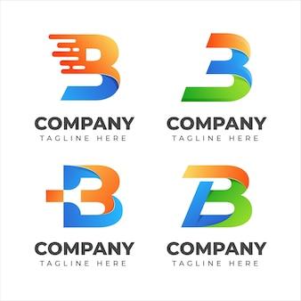 Conjunto de coleção de logotipo da letra b com conceito colorido para empresa