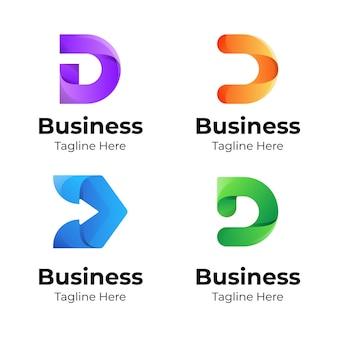 Conjunto de coleção de logotipo da letra d com conceito colorido para negócios