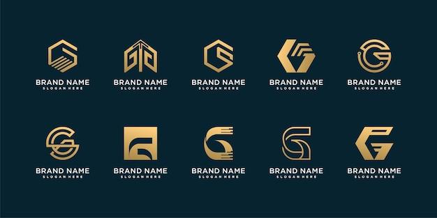 Conjunto de coleção de logotipo da letra g com conceito criativo dourado