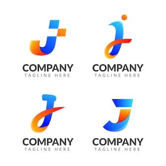 Conjunto de coleção de logotipo da letra j com conceito colorido para negócios